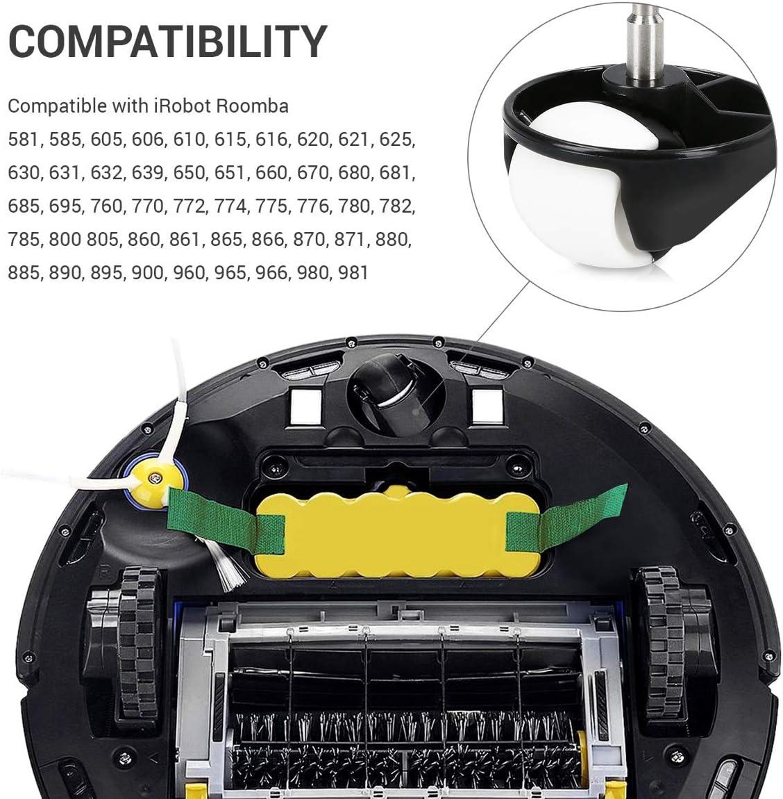 kwmobile Set de 2 Ruedas Delanteras de Repuesto para Roomba - 500 ...