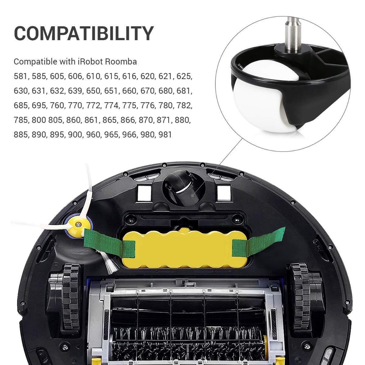 Recambios de Ruedas universales para Robot Aspirador Roomba kwmobile Set de 2 Ruedas Delanteras de Repuesto para Roomba 500//600//700//800//900