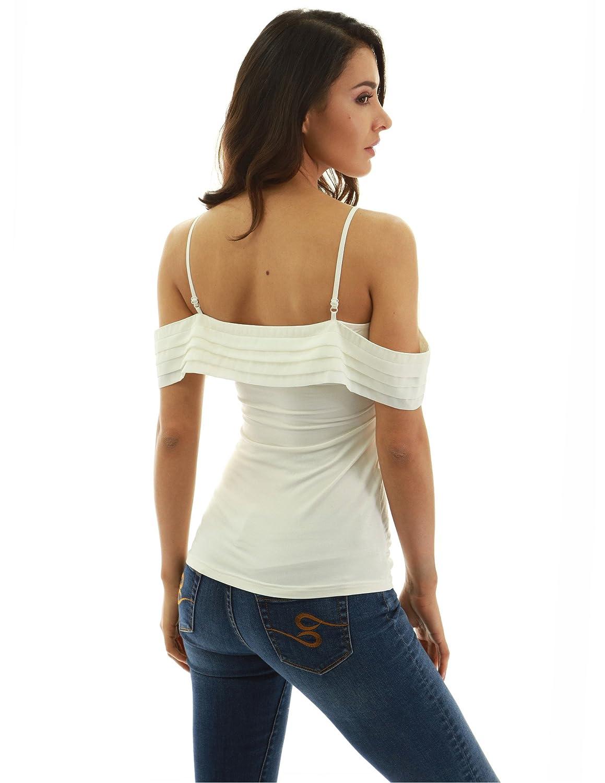 42e2114001112b PattyBoutik Women Spaghetti Strap Cold Shoulder Chiffon Inset Blouse at  Amazon Women s Clothing store