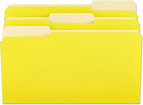 UNIVERSAL Colored File Folders 1//3 Cut Assorted Two-Ply Top Tab Letter Yellow