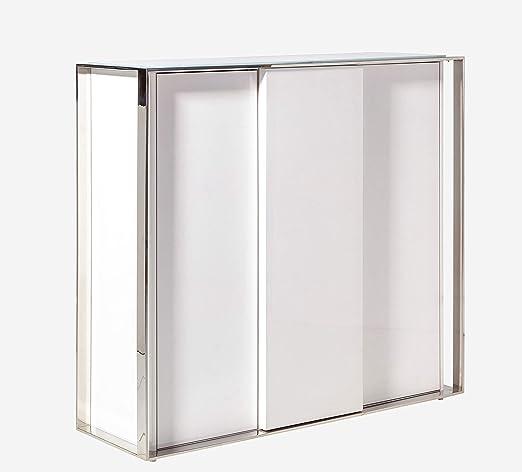 Camino a casa | Aparador Alto Suite - Estructura de Acero Inoxidable y DM. Cristal Templado Blanco de 5 mm de Grosor. Sistema Push de Cierre. lacas Brillo | Blanco: Amazon.es: Hogar
