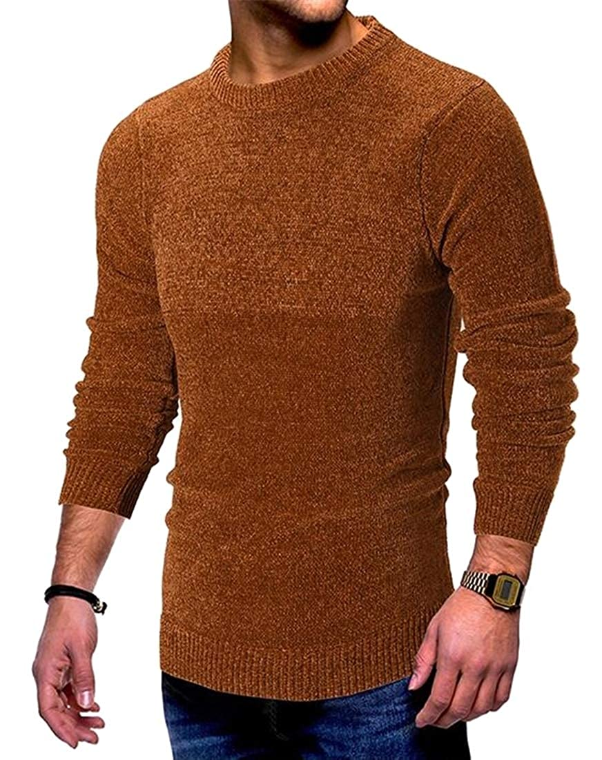 Fensajomon Mens Solid Color Fall /& Winter Crew Neck Long Sleeve Knitted Pullover Sweater Jumper