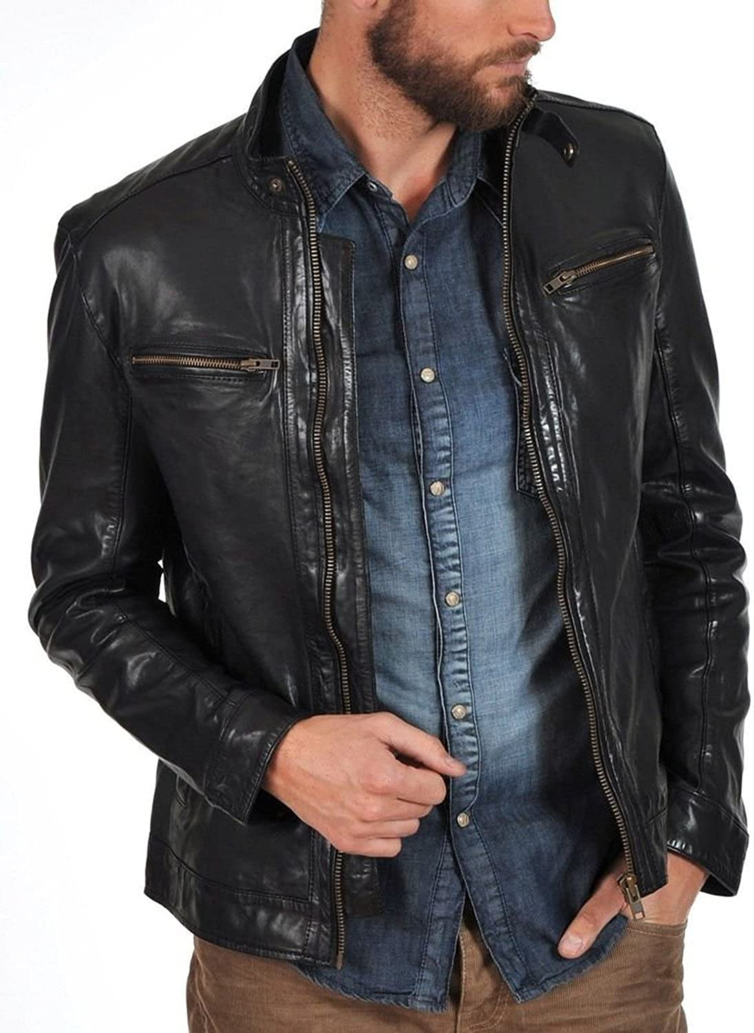 Kingdom Leather New Men Quilted Leather Jacket Soft Cow Leather Biker Bomber XC704