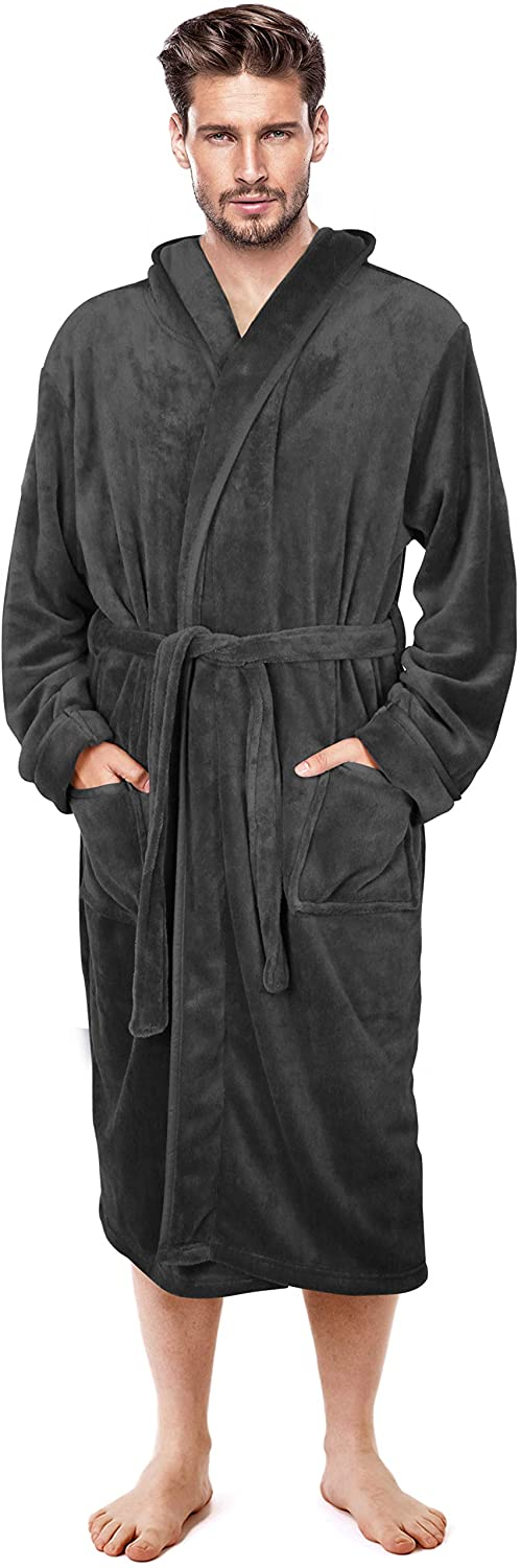 NY Threads Mens Hooded Robe Plush Long Bathrobes for Men