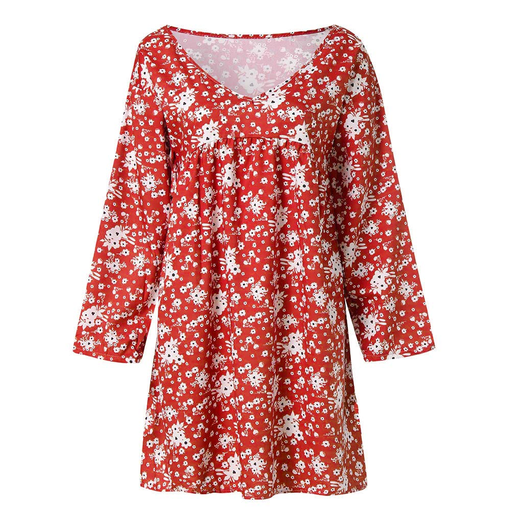 68e5e755a Amazon.com: Women Plus Size Floral Print Dress S-5XL Summer Casual Loose V  Neck Long Sleeve Beach Dresses: Clothing