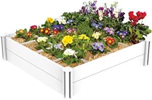 Mingyall 4 x 4 FT Raised Garden Bed with Grow Grid, Raised Garden Beds Planter for Planting Plants, Flowers and Herbs Outdoor, DIY UnitWhite Vinyl Raised Garden