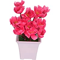 Pindia Artificial Dark Pink Flower Plant with Pot for Home and Office Decor (8x8x17, cms)