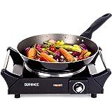 Duronic HP1BK – Placa de cocción eléctrica color negro con mangos, Potencia 1500W – Termostato de control
