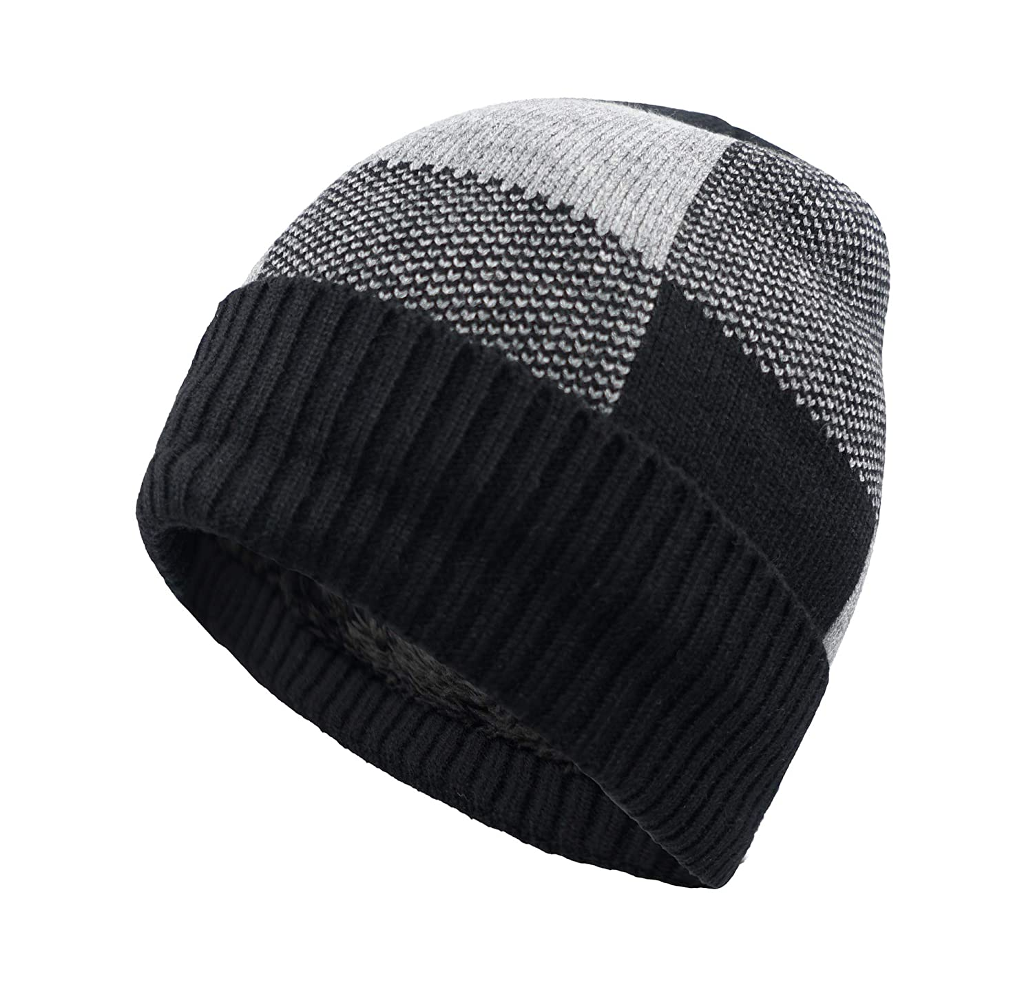 51eab9d44e6 Home Prefer Winter Warm Knitting Hats Cuff Beanie Hat Skull Caps for Men  Knit Beanie Daily Hat Black at Amazon Men s Clothing store