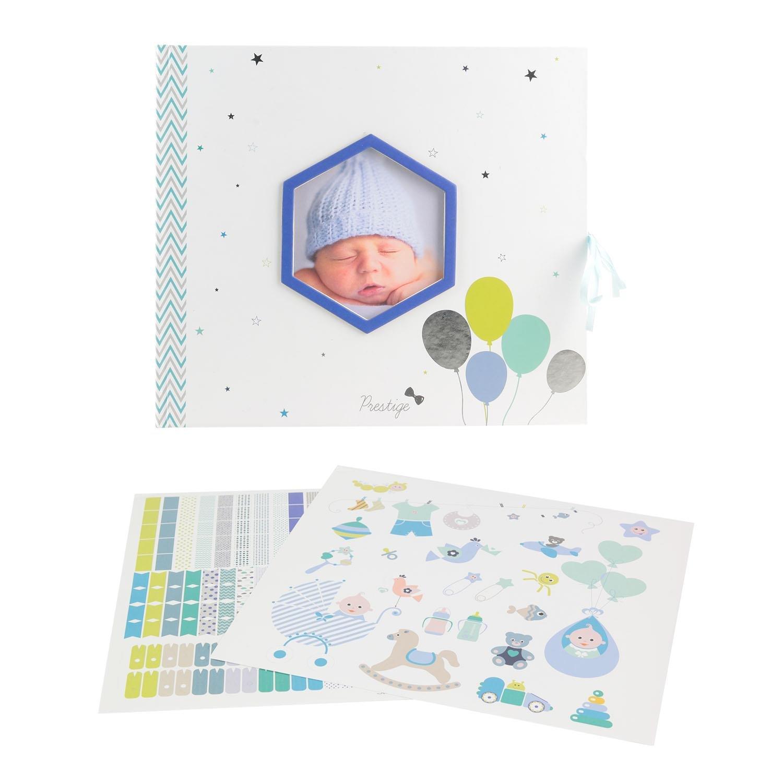 Libro de Nacimiento Personalizable bebé Garcon 30páginas, 100Stickers, incluye 1toise periódico caja de recuerdos (a compléter cámara Tom & Zoé azul 100Stickers Uni que