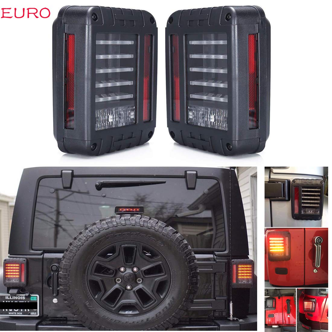 SXMA Euro Version LED Tail Lights Reverse Light Rear Turn Signal Lamps Led Brake Tail Lamps Running Lights for for 07-17 Wrangler JK (1 Pair)