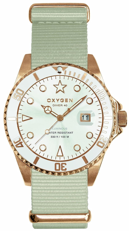 Oxygen EX-D-SNO-40-IV - Reloj analógico de cuarzo unisex, correa de nailon color blanco (agujas luminiscentes)