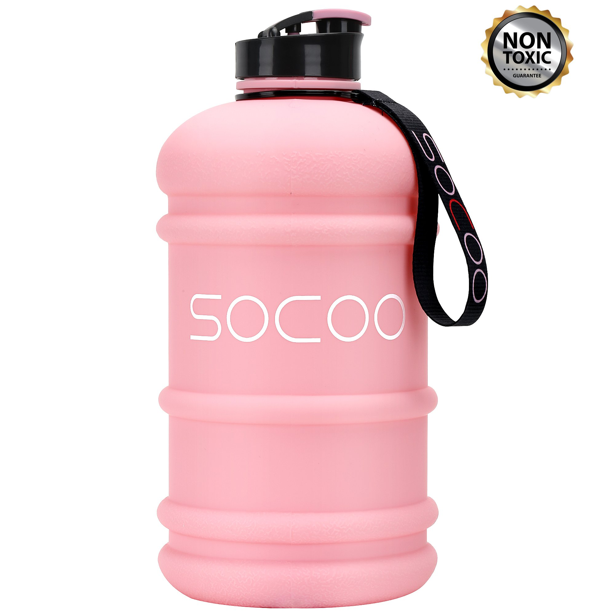 Water Bottle Big 2.2Liter Cool Rubber Coating Reusable Plastic Sports Water Bottle Leak Proof BPA Free Gym Fitness Large Water Jug with Spout (Rubber-Coating Pink)