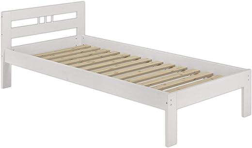 Erst-Holz® Massivholzbett Kiefer weiß Einzelbett 100×200 Jugendbett Futonbett Rollrost Gästebett 60.64-10 W