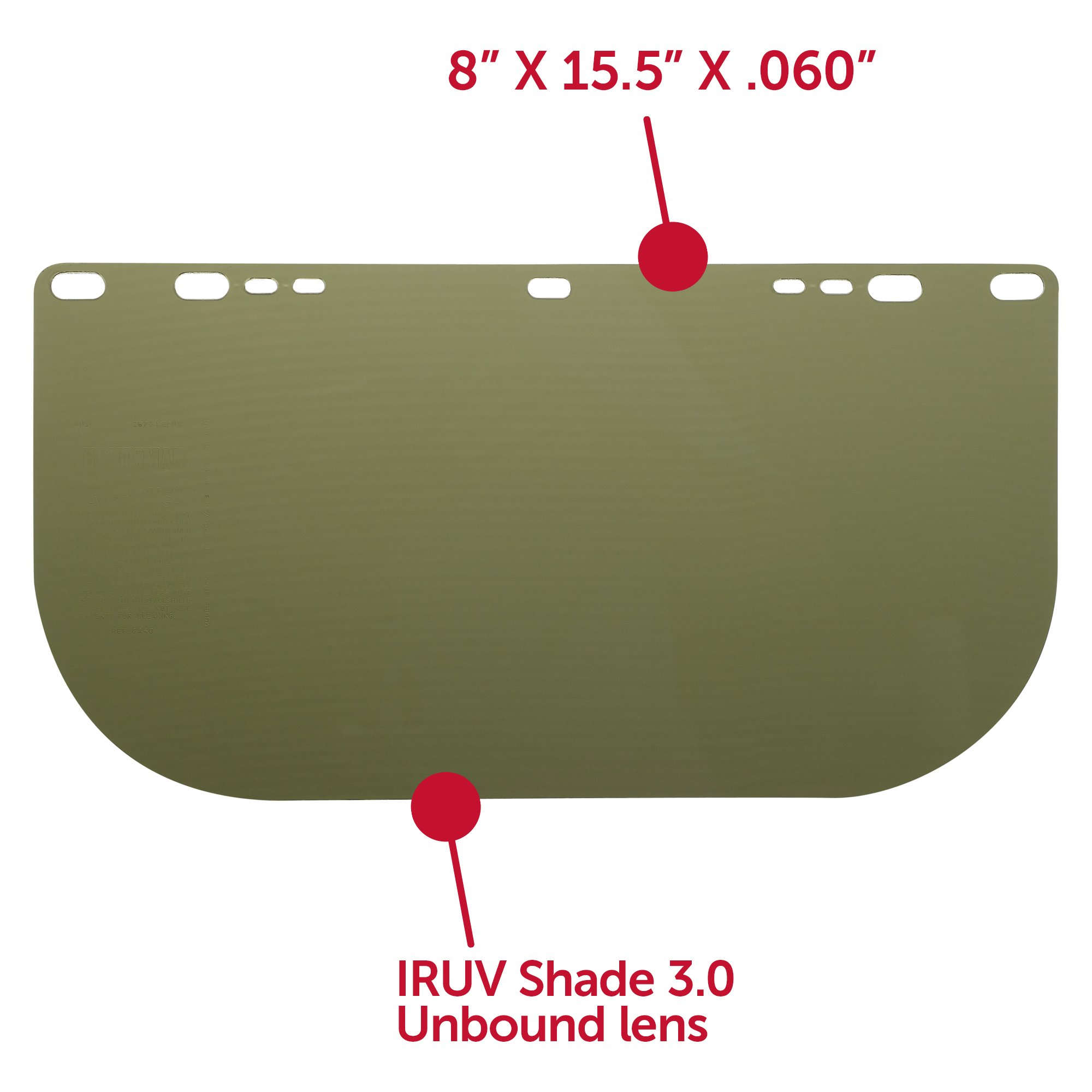 "Jackson Safety F50 Specialty High Impact Face Shield (26262), Polycarbonate, 8"" x 15.5"" x 0.06"", IRUV 3.0, Face Protection, Unbound, 12 Shields / Case by Jackson Safety (Image #3)"