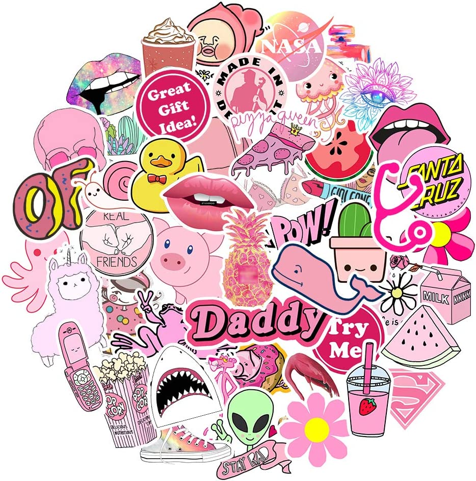 Big Stickers 50pcs for Water Bottles Pink Cute Theme Waterproof Aesthetic Trendy Stickers for Teens Kids Girls and Boys, Perfect for Hydro Flask Laptop Notebook Phone Car Travel Durable 100% Vinyl
