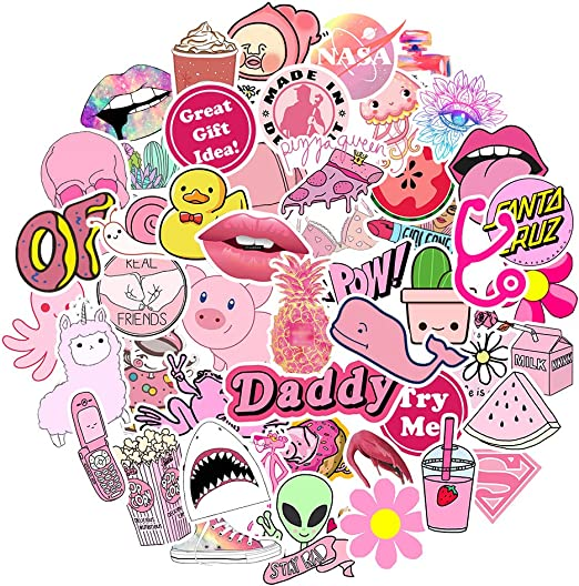 Amazon Com Big Stickers 50pcs For Water Bottles Pink Cute Theme Waterproof Aesthetic Trendy Stickers For Teens Kids Girls And Boys Perfect For Hydro Flask Laptop Notebook Phone Car Travel Durable 100 Vinyl