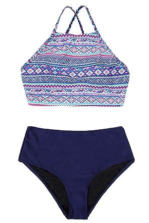 b783f8ebd3c CharmLeaks Womens Aztec 2 Piece Halter Bikini Set High Neck Criss Cross  Blue S