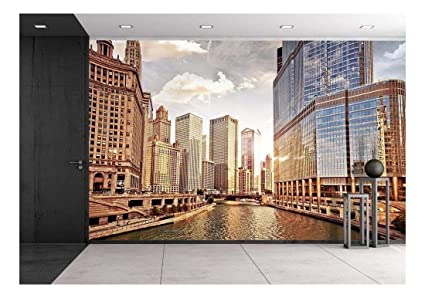wall26 chicago skyline at sunset removable wall mural self