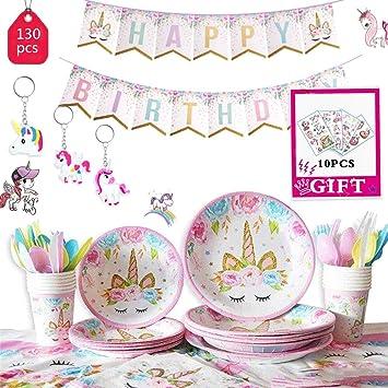 Einhorn Regenbogen Party Teller Pappteller Kindergeburtstag Mädchen Tisch Deko