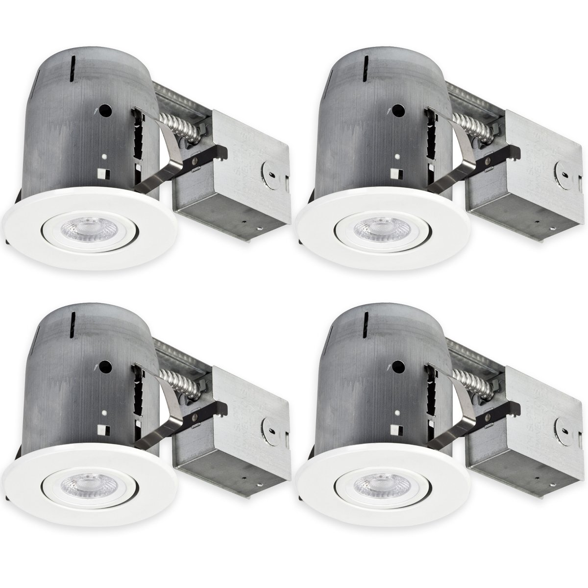Globe Electric 5'' LED IC Rated Swivel Round Trim Recessed Lighting Kit 4-Pack, White Finish, Dimmable, Easy Install Push-N-Click Clips, LED Bulbs Included, 4.25'' Hole Size 90957