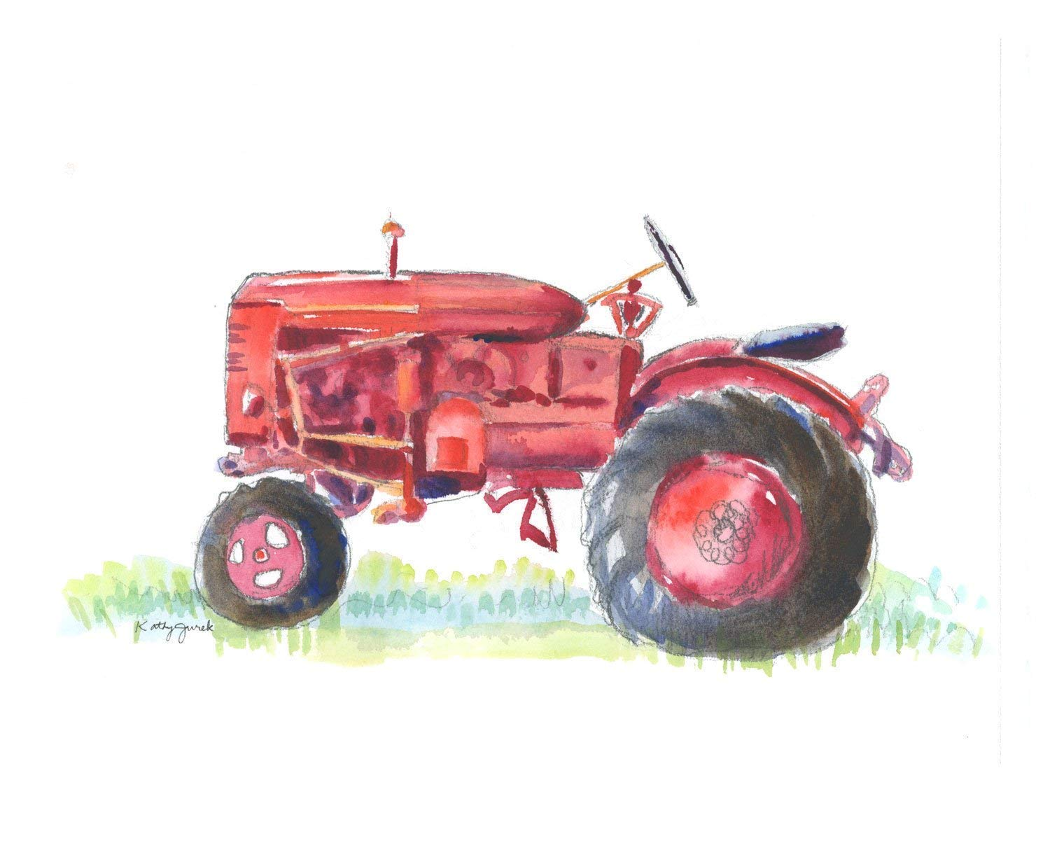 Vintage Red Farm Tractor Wall Art Print for Farmhouse Decor   Nursery Wall Art   8.5 x 11 Inch Gallery Quality Fine Art Giclée Print by Little Splashes of Color