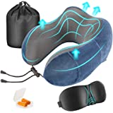 Newdora Travel Pillow, Memory Foam Neck Pillow Neck Cushion,Flight Pillow Travel Kit Compact and Breathable for Sleeping Napping Airplane Car Office with Sleeping Mask,Earplugs and Pouch(Tibetan Blue)