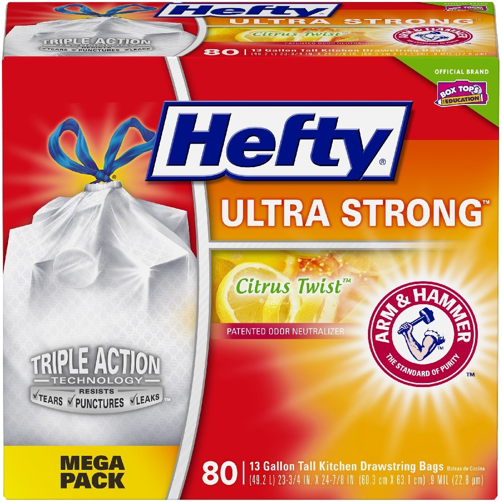 Hefty Ultra Strong Tall Kitchen Trash Bags - Citrus Twist, 13 Gallon, 80 Count