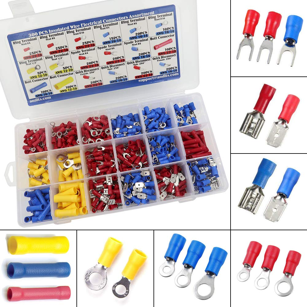 300 PCS Insulated Wire Electrical Connectors Assortment - Butt, Ring, Spade, Quick Disconnect - Crimp Marine Automotive Cable Terminals by Amlits