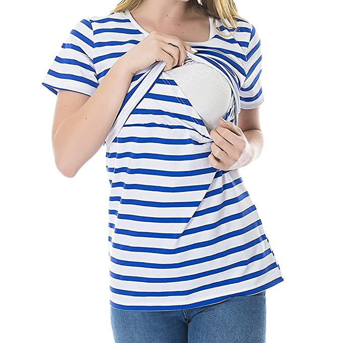 MEIHAOWEI Moda Embarazo Ropa de Maternidad Camiseta de Maternidad Camisa de Lactancia Materna Enfermería Tops para