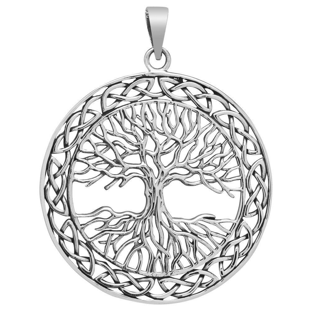 Grosser Baum des Lebens Anhänger 925 Silber Weltenbaum Lebensbaum 40mm Steel fpm7333