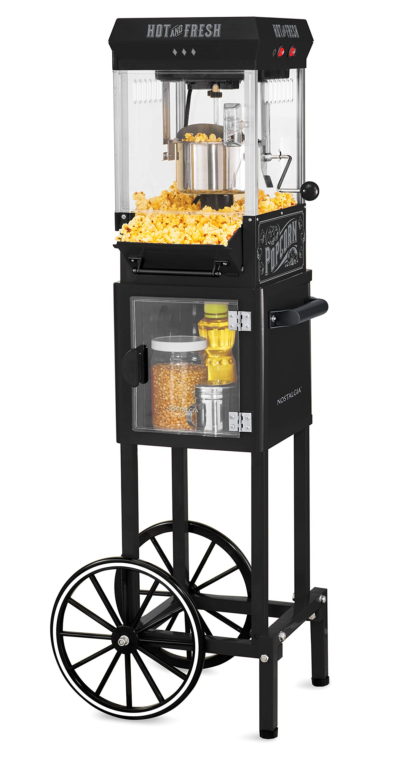 Nostalgia KPM220CTBK 2.5 oz Professional Popcorn & Concession Cart with 5 quart Bowl, 45'' Tall, Makes 10 Cups, with Kernel & Oil Measuring Spoons & Scoop, 11'' Wheels for Easy Mobility by NOSTALGIA