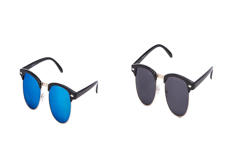 3 er Set EL-Sunprotect Clubmaster Classic Optik Sonnenbrille - UV400 Brille Premium Qualität - Schwarz Gold Smoke Dunkle Glässer 5nus5W7o3