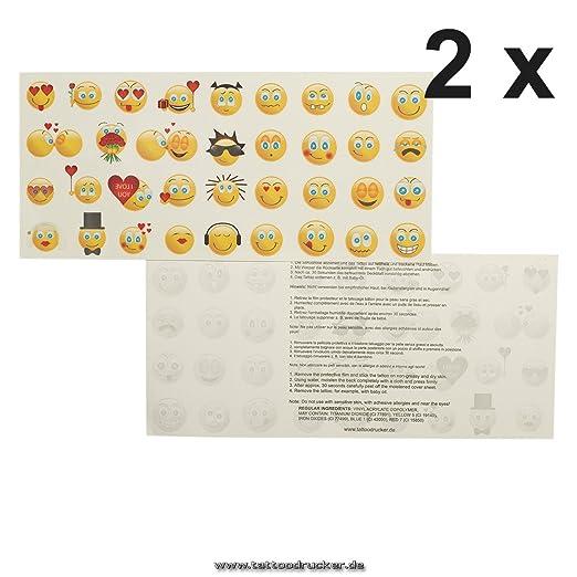 Smiley Tattoo tarjeta con por 35 Emoji - 35 Multicolor emojicon ...