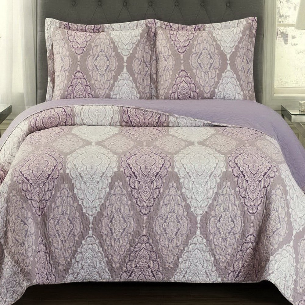 Finely Stitched Quilt Coverlet Shams Set Twin/Twin XL Size Extra Long Single Bed Mandala Medallion Pattern Lightweight Reversible Wrinkle Free Hypoallergenic Bedding Purple Plum