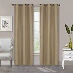 """Home Collection 2 Panels 100% Blackout Curtain Set Solid Color with Rod Pocket Grommet Drapes for Kitchen, Dinning Room, Bathroom, Bedroom ,Living Room Window New (74"""" Wide X 83"""" Long, Taupe)"""