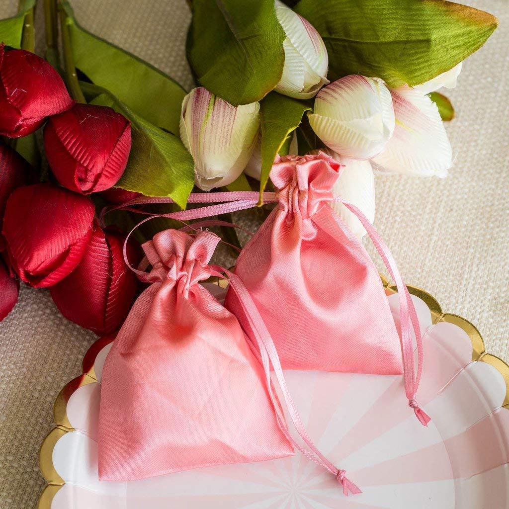 db18b6f7d0d5 Efavormart 12PCS Rose Quartz Satin Gift Bag Drawstring Pouch Wedding Favors  Bridal Shower Candy Jewelry Bags - 4