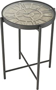 Sterling Home Marylebone Bronze with Burnt Oak Wood and Metal accent table, Multicolor