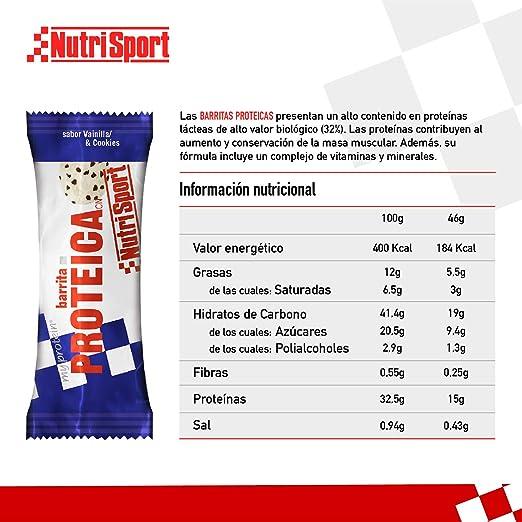 Nutrisport Barrita Proteica Vainilla-Cookies - paquete de 24 unidades (46 gr X 24 unidades) 1104 gr