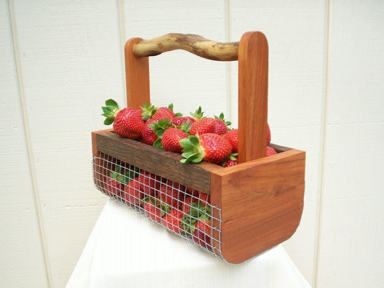 Harvest Basket,Farmhouse Decor,Harvesting Basket,Garden Basket,Egg Basket,Wire Basket,Wood Basket