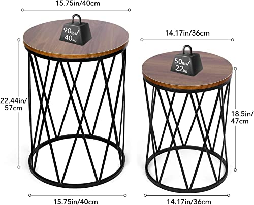 amzdeal Nesting Side Table, Set of 2 Stacking Coffee Table for Living Room, End Tables with Metal Frame Modern Industrial Decor - 15.75 x22.44 H , 14.17 x18.5 H