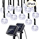 Lumitify 2 Pack Globe Solar String Lights, 19.7ft 30 LED Fairy Crystal Ball Lights, Outdoor Decorative Solar Lights for Christmas Home, Garden, Patio, Lawn, Party and Holiday(White)