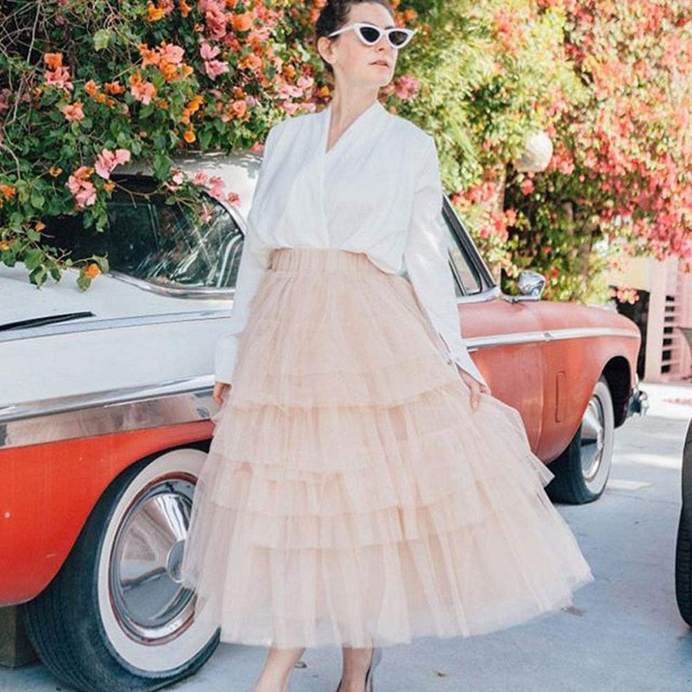 VJGOAL Moda Casual de Las Mujeres Color sólido Imperio Tulle Mesh ...
