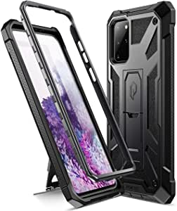 Poetic Spartan Series Designed for Galaxy S20+ Plus Case, Full-Body Rugged Dual-Layer Metallic Color Accent Premium Leather Texture Shockproof Protective Cover with Kickstand, Metallic Gun Metal