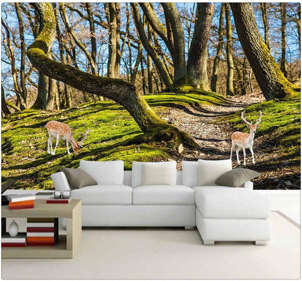 Wall Mural Photo Wallpaper Forest Trees Elk Deer Tv Background Wallpaper Living Room Bedroom Decor Wall Painting 300cmx210cm Amazon Com