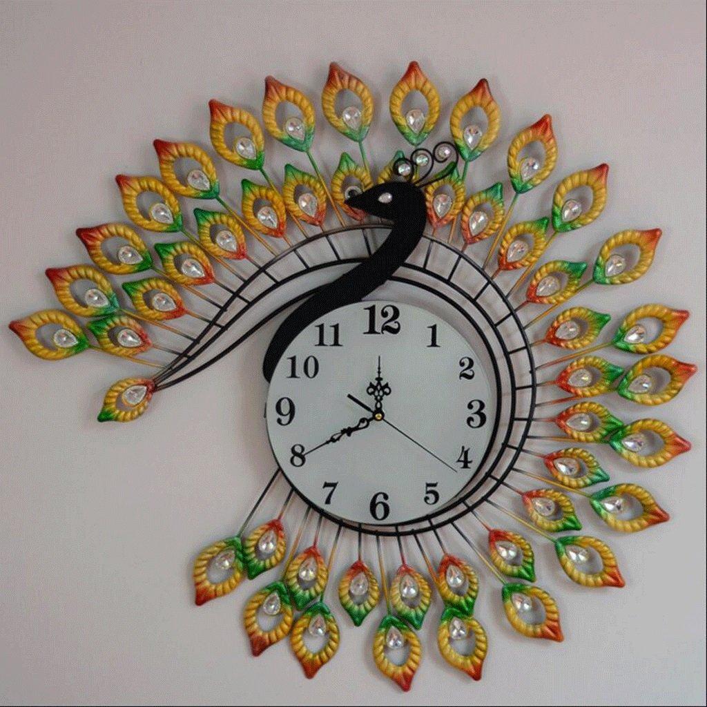GAOLILI ピーコックウォールクロックリビングルームクリエイティブウォールクロックアートクロックパーソナライズされたミュートクォーツ時計 B07C3PJMNZ