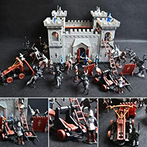 Knights Castle Model Building Accessory, Castle Knights Toy Army Playset with Assemble Castle,DIY Educational Toy Set