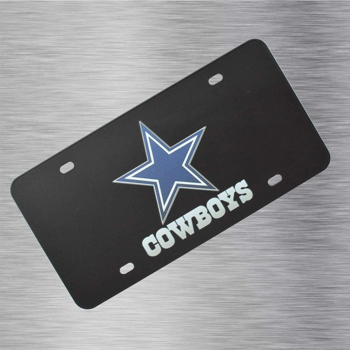 Dallas Cowboys CAR FAN Dallas Cowboys Team Logo Aluminum License Plate Cover,for Toyota BMW Mercedes Benz Chevrolet Buick Cadillac Ford Honda Mazda Lexus Hyundai Kia Nissan