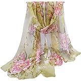 OUKIN Fashion Lady Women Floral Print Sheer Chiffon Soft Long Silk Scarf Scarves Sheer Wrap Shawl