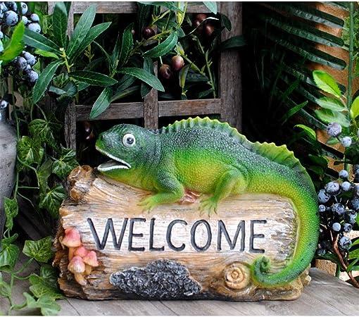 Pequeñas estatuas al aire libre Estatuas Jardín Patio Balcón tienda de decoración diversión jardín Decoración de jardín estatuilla linda Bienvenido Gradiente Animal Sign Moldeada del Ministerio del In: Amazon.es: Hogar